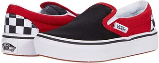 Vans Kids ComfyCush Slip-On (Little Kid) ((Checkerboard) Black/Red) Boys Shoes