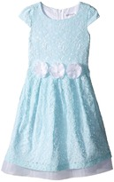Us Angels Lace Cap Sleeve w/ Organza Underlay & Flower Trim (Toddler/Little Kids)