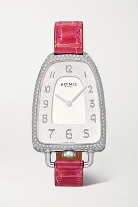 HERMÈS TIMEPIECES Galop Dhermes 26mm Medium Stainless Steel, Alligator And Diamond Watch - Silver