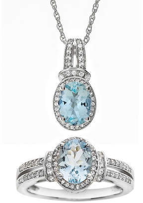 Fine Jewelry Genuine Aquamarine and Lab-Created White Sapphire Pendant Necklace and Ring Set