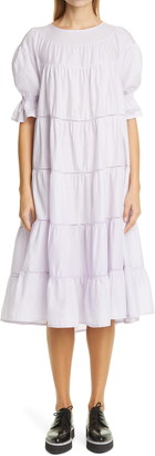 Merlette New York Paradis Tiered Puff Sleeve Cotton Dress