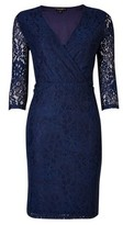 Dorothy Perkins Womens Navy Wrap Lace Bodycon Dress