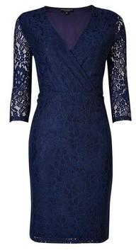 Dorothy Perkins Womens **Navy Wrap Lace Bodycon Dress