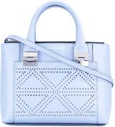 Emporio Armani laser-cut triangle detail shoulder bag - women - Cotton/Calf Leather - One Size
