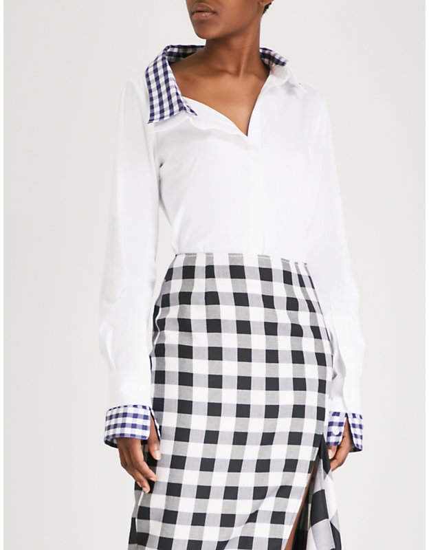 Monse Double collar cotton-poplin shirt