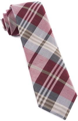 Tie Bar Crystal Wave Plaid Burgundy Tie
