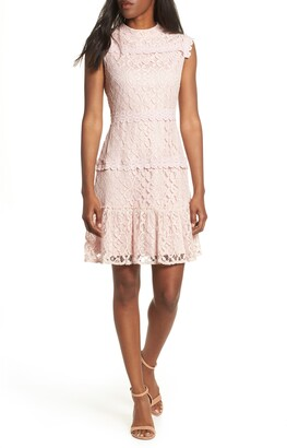 Julia Jordan Lace Tiered Mock Neck Dress