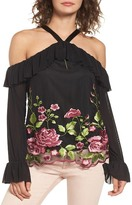 Love, Fire Embroidered Floral Off the Shoulder Top