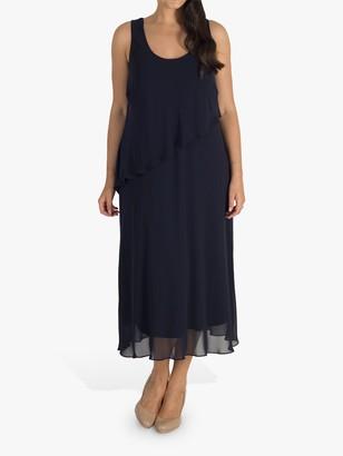 Chesca Asymmetric Tiered Sleeveless Chiffon Dress, Navy