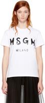 MSGM White Milano Logo T-Shirt