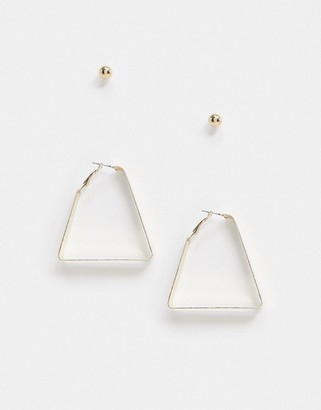 SVNX 2 pack triangle and stud earring set in gold