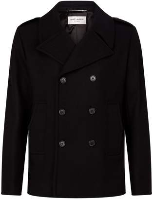 Saint Laurent Wool Double-Breasted Coat