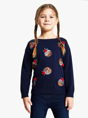 John Lewis & Partners Girls' Sequin Christmas Pudding Jumper, Navy