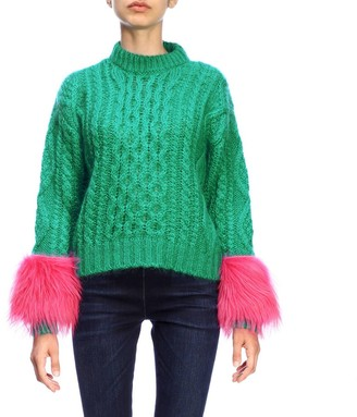 Prada Crewneck Pullover In Braided Mohair Wool With Kidassia Cuffs