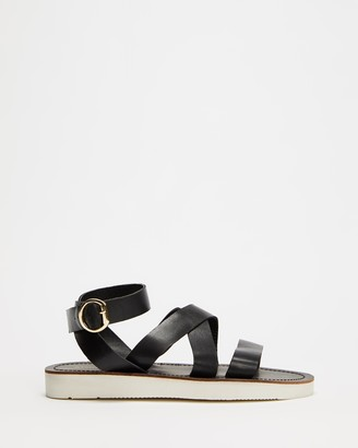 Atmos & Here Atmos&Here - Women's Black Strappy sandals - Delphine Leather Sandals - Size 5 at The Iconic