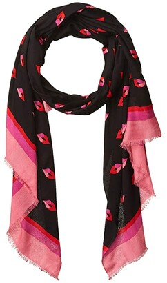 Kate Spade Lips Oblong Scarf (Black) Scarves