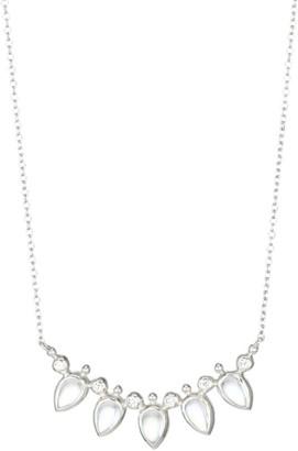 Anzie Bouquet Blue Moonstone, White Sapphire & Rhodium-Plated Fan Bar Necklace