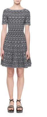 Alaia Short-Sleeve Labyrinth Intarsia Dress, Black/White