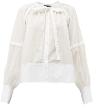 Proenza Schouler Tie Neck Cotton Voile Blouse - Womens - White