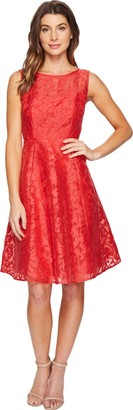 Sangria Women's Sleevless Lace Fit and Flare Dress
