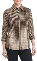 Foxcroft Petite Women's Fallon Satin Stripe Cotton Shirt