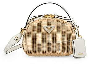 Prada Women's Odette Wicker & Leather Top Handle Bag