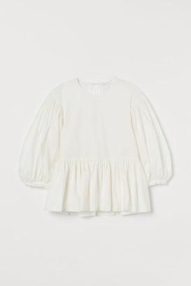 H&M Cotton Balloon-sleeved Blouse - White