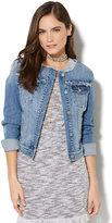 New York & Co. Soho Jeans - Frayed Denim Jacket - Bermuda Blue Wash