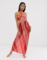 Asos Design DESIGN halter neck beach maxi dress with cut out waist in ombre metallic jersey plisse