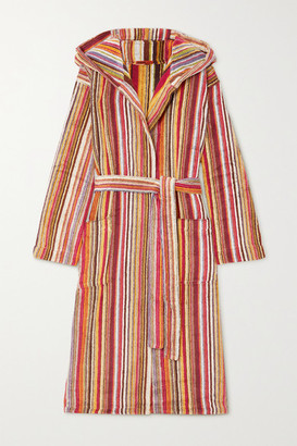 Missoni Home Jazz Hooded Striped Cotton-terry Robe - Red