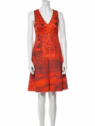 Akris Printed Knee-Length Dress Red