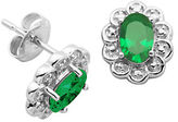 Lord & Taylor May Birthstone Emerald Cubic Zirconia and Sterling Silver Stud Earrings