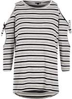 River Island Womens Grey knit stripe cold shoulder tie sleeve top