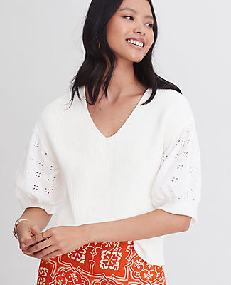 Ann Taylor Petite Eyelet Puff Sleeve Mixed Media Sweater