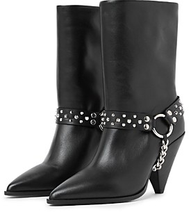 The Kooples Women's Pointed Toe Studded Strap Boots