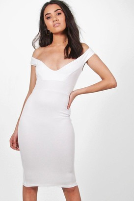 boohoo Petite Off The Shoulder Dress