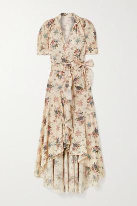 ANNA MASON Stella Floral-print Cotton-poplin Wrap Dress - Pastel pink
