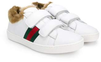 Gucci Kids faux fur-lined sneakers