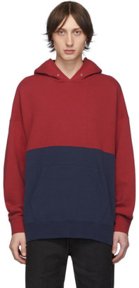 Visvim Blue and Red Switch Jumbo Hoodie