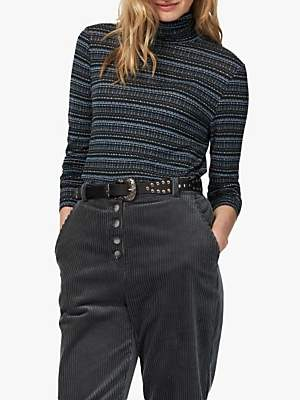 Brora Textured Stripe Polo Neck Top, Ivy