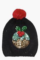Boohoo Maisy Sequin Pudding Pom Beanie Hat
