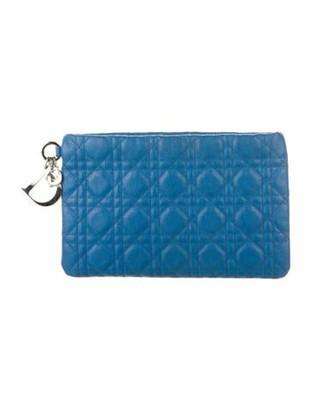 Christian Dior Panarea Cannage Flat Pouch Blue