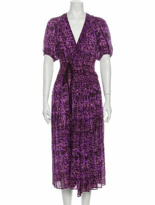 Ulla Johnson Printed Midi Length Dress Purple