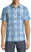 Michael Bastian Sand-Washed Short-Sleeve Plaid Shirt