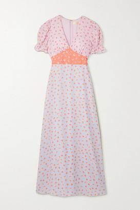 TVF Sundae Paneled Printed Crepe De Chine Maxi Dress - Lilac