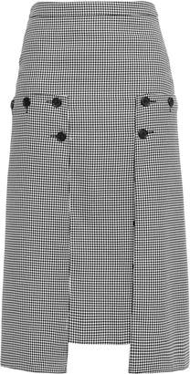 Rokh Button-detailed Paneled Houndstooth Crepe And Georgette Midi Skirt
