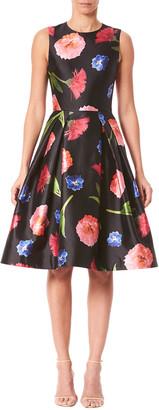 Carolina Herrera Floral Mikado Sleeveless A-Line Dress