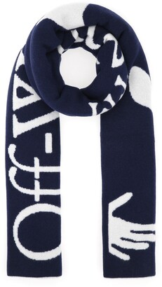 Off-White Logo Intarsia Knitted Scarf