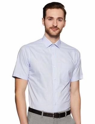 Shaftesbury London Men's Regular Fit Short Sleeves Spread Collar Dress Shirt 17.5 Blue