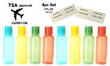 Swissco 8pc Premium Quality Leak-Proof & Color-Coded Refillable Plastic Travel Size Empty Bottles with Labels For Cosmetic Shampoo etc., Carry-On TSA / Airline Approved